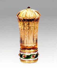 Fabergé Parasol Handle; prior to 1899; smoky quartz, deux-couleur gold, enamel, cabochon ruby, steel (Hodges Family Collection)