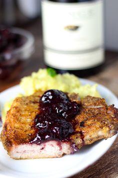Pork Chops with Cherry Sauce   platingsandpairings.com