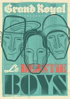 Beastie Boys Poster   Illustrator: Travis Price: Melbourne Victoria Australia Vector