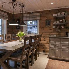 Familiehytta modell FH 145 Osensjøen! #familiehytta #nyhytte #hytte #hyttekos… Diy Rustic Decor, Modern Farmhouse Decor, Rustic Design, Wood Design, Decor Styles, Ikea, Interior Design, Table, Furniture