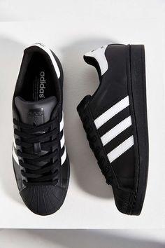 buy online e2e02 e0e80 adidas Black Leather Sneakers, Black Adidas Shoes, Leather Trainers, Black  Shoes Sneakers,