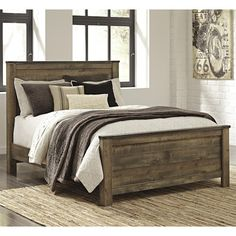 Signature Design by Ashley Trinell Rustic Look Queen Panel Bed