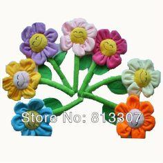 Creative Plush Sun Flower Fridge Magnet Toys For Christmas Gifts Multicolor To Choose Wholesale 50pcs/Lot $38.00