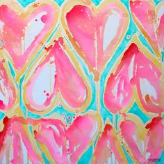 Original painting 36x36 Sweet Hearts by Jennifer Moreman