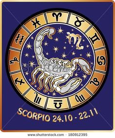 One Scorpio and symbols of all zodiac signs Horoscope circle.Golden and white figure on blue background.Graphic Vector Illustration in retro style. - stock vector