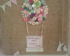 New baby gift personalised button art canvas by FlutterbyBazaar