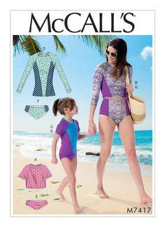 McCall's Misses'/Girls' Raglan Sleeve Rash Guards and Bikini Bottoms 7417