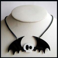 Skull Bat Acrylic Necklace by cherryboop on Etsy, $20.00