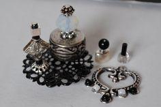 Dollhouse Miniature Perfume, Handmade Dollhouse Miniature Vanity/Toiletries, Dollhouse Bottles,  Silver and Black Set
