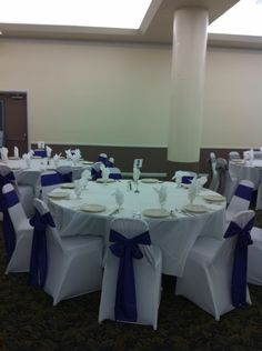 White Spandex Chair Covers with our royal Purple Crinkled Taffeta Sashes. TWITTER: @BayAreaLinens www.bayarealinens.com