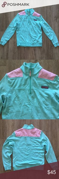 Vineyard Vines Shep Shirt The original purchaser cancelled their order so this beautifully light and bright turquoise and pink Shep shirt by Vineyard Vines is still available! Perfect for spring, cool summer nights, and fall. Great condition, only worn 3 times. Vineyard Vines Tops Sweatshirts & Hoodies