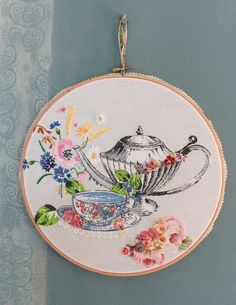 Parisienne Cafe fabric collage hoop oneoff by vickytrainor