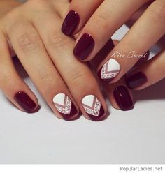 Burgundy and white manicure style