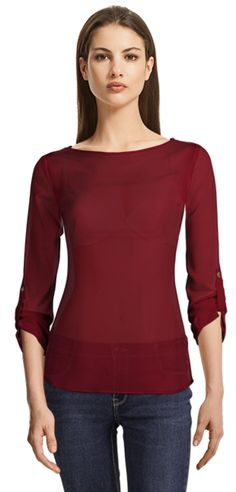 Red blouse with convertible sleeve - Sumissura customisable clothing Design Your Shirt, Suits For Women, Clothes For Women, Party Jackets, Custom Made Clothing, Business Casual Dresses, High Waisted Pencil Skirt, Collar Styles, Red Blouses