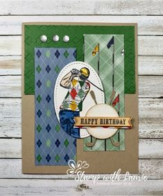 Thought I would share with you my Clubhouse Birthday Card. The Clubhouse Bundle is perfect to create those hard to make masculine cards! Golf Birthday Cards, Birthday Scrapbook, Happy Birthday 22, Man Birthday, Masculine Birthday Cards, Masculine Cards, Golf Cards, Men's Cards, Stamping Up Cards