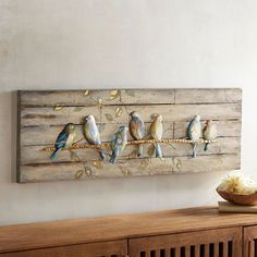 A flock of friendly warblers comes home to roost at your place. Our artwork& charming scene is painted on a weathered-wood background and would look perfect perched over a window where the sun streams in. Cute Dorm Rooms, Cool Rooms, Diy Wall Decor, Bedroom Decor, Bedroom Ideas, Bedroom Wall, Wall Decorations, Bedroom Designs, Christmas Decorations