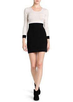 Vestido bicolor cintura elástica
