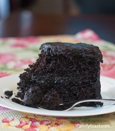 Black Midnight Cake - Moist, dark and delicious! An old family recipe thats been passed down through the years - but with some updates to make it even better!