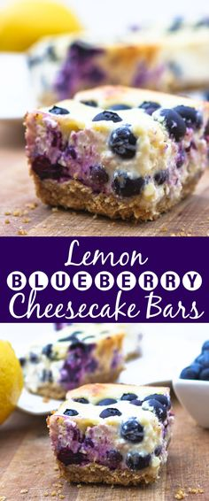 Lemon Blueberry Cheesecake Bars   So super fresh and yummy! This is a perfect dessert for spring and summer.