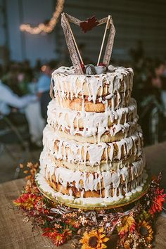Cinnamon Rolls stacked like a cake! The most DELICIOUS wedding cake ever!