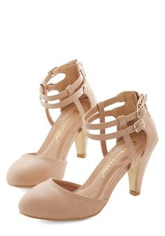 Fundamental Flair Heel. Shake up your everyday by slipping into these muted-peach, vegan faux-leather heels! #tan #wedding #modcloth
