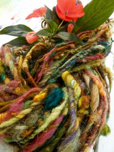 GYPSY textured art yarn / hand spun / hand dyed / wool / multi color / weaving…