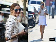Hoje temos um look inspiração ultra feminino. Vejam que linda esta combinação de camisa poa P&B com saia e acessórios brancos da Olivia Pale...