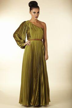Opulence asymmetric pleated maxi dress