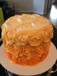 Orange Ombre Cake | Orange Ombre rosette cake for moms birthday