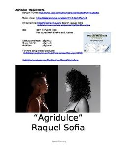 This FREE Spanish lesson includes: -link to audio and video of song -complete lyrics -cloze activity lyrics -follow up activity based on the lyrics  Your students will love this catchy song from Puerto Rican songer Raquel Sofia and her cancion Agridulce.