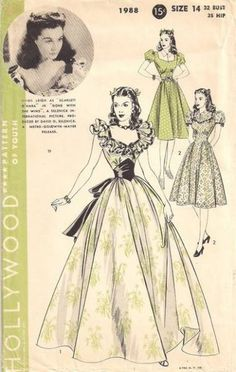 Hollywood Sewing Pattern 1988 ~ Vivien Leigh Scarlett O'Hara Gone With Wind Gown Pattern ~ Heavens to Betsy Vintage ~ $165.00 - SOLD