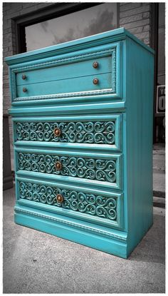 Shabby Chic Glazed Turquoise Chest of Drawers
