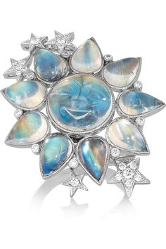 Lydia Courteille|Sun 18-karat white gold, moonstone and diamond ring|NET-A-PORTER.COM