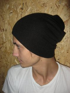 Mens Beanie Woolen  Hat  Knit Slouchy Hat by CrochetKnitAccessory