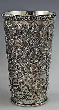 """Schofield sterling silver """"Baltimore Rose"""" pattern repoussé tumbler - Baltimore, A WORK OF ART! Vintage Silver, Antique Silver, 925 Silver, Silver Jewelry, Silver Earrings, Silver Bracelets, Vases, Silver Pooja Items, Silver Trays"""