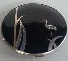 antique vintage black and silver-tone compact