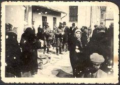 Nagy Berezna, Hungary, 1944, A deportation of Jews, who are wearing Jewish badges.