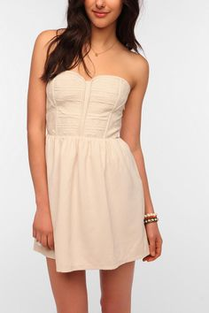 Staring At Stars Embroidered Bodice Strapless Dress