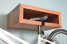Wood Bike Rack with Shelf by IndustrialFarmHouse on Etsy
