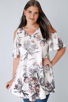 cbc9fae13b Ivory   Multi Cold Shoulder Floral Swing Top Swing Top