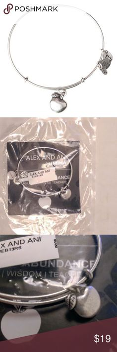 """Alex & Ani Apple of Abundance Charm Bangle Alex & Ani expandable bracelet. PRICE FIRM. Please do not offer. The apple is often associated with the ability to pass on knowledge to others. Embrace the energy of the Apple of Abundance Charm for the guidance to accept the responsibility of sharing wisdom & passing it down from generation to generation. Comes in bag as shown. These currently sell for $28 on brand site. (Area 6) The perfect addition to your charmed arm • Expandable from 2"""" to 3.5""""…"""