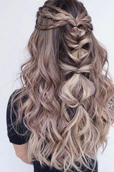 Ombre Hair Looks That Diversify Common Brown And Blonde Ombre Hair Wedding Hairstyles For Long Hair, Braids For Long Hair, Pretty Hairstyles, Braided Hairstyles, Prom Hairstyles, Unique Hairstyles, Fashion Hairstyles, Mermaid Hairstyles, Festival Hairstyles