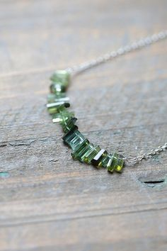 Tourmaline Necklace, Raw Tourmaline Crystals, Green Ombre Jewelry, OOAK Tourmaline Jewelry, October Birthstone on Etsy, $140.00