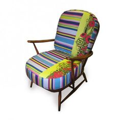 Upcycled Fish & Stripe Print Ercol Chair - Furniture
