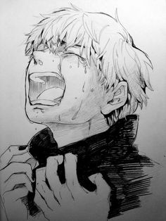 "Tokyo ghoul kaneki kun don't cry :/ i""m there for you ♡ Tokyo Ghoul Drawing, Dark Anime, Sketches, Drawings, Anime Crying, Anime Sketch, Art, Manga"
