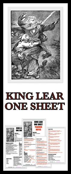 ONE SHEET on King Lear.  Traditionally one sheets are single page documents that summarize a person's accomplishments, a product, or a film.  They sometimes are used to introduce new artists and/or films.  They usually contain an image or two, biographical information, and taglines. I have created these one sheets to help summarize plot points or key quotations.  There are also 3 pages of teacher notes and a slide presentation.