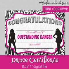 Dance certificate templates pinterest certificate dancing and dance certificate print your own instant by myfashionabledesigns yelopaper Choice Image