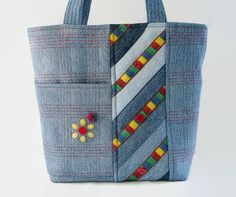 Quilted Jean Handbag Small Denim Jean Tote by SuzqDunaginDesigns
