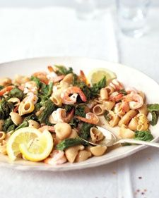 Mustard Greens, Shrimp & Anchovy Pasta - Barbie says: I really, really liked this. Think I may use more anchovies next time and sprinkle on some capers. A dusting of Parmesan made it perfect.