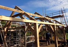 'Timber frame now up in fantastic coastal location' By Roderick James Architects and Carpenter Oak Ltd